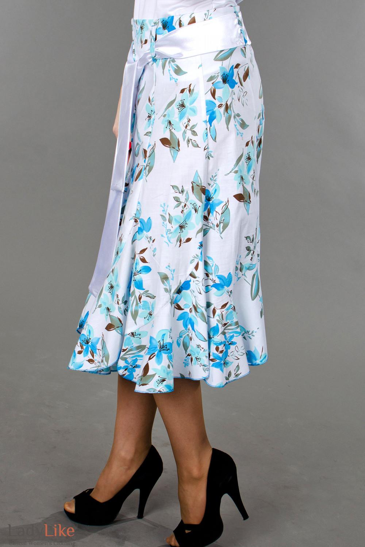 Фото Юбка годе в синие цветочки вид слева Деловая женская одежда