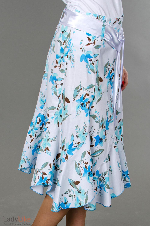 Фото Юбка годе в синие цветочки вид справа Деловая женская одежда