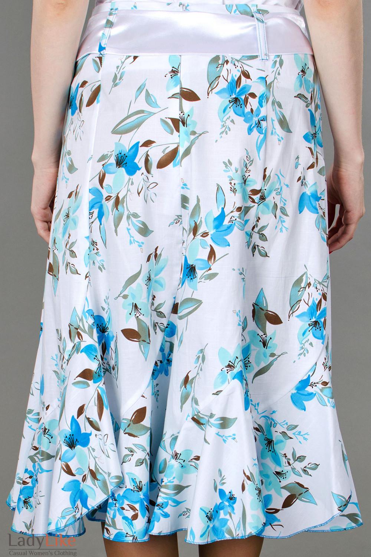 Фото Юбка годе в синие цветочки вид сзади Деловая женская одежда