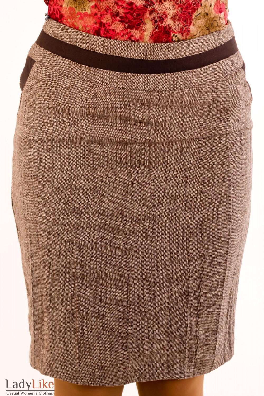 Фото Юбка из коричневого твида.Вид спереди Деловая женская одежда