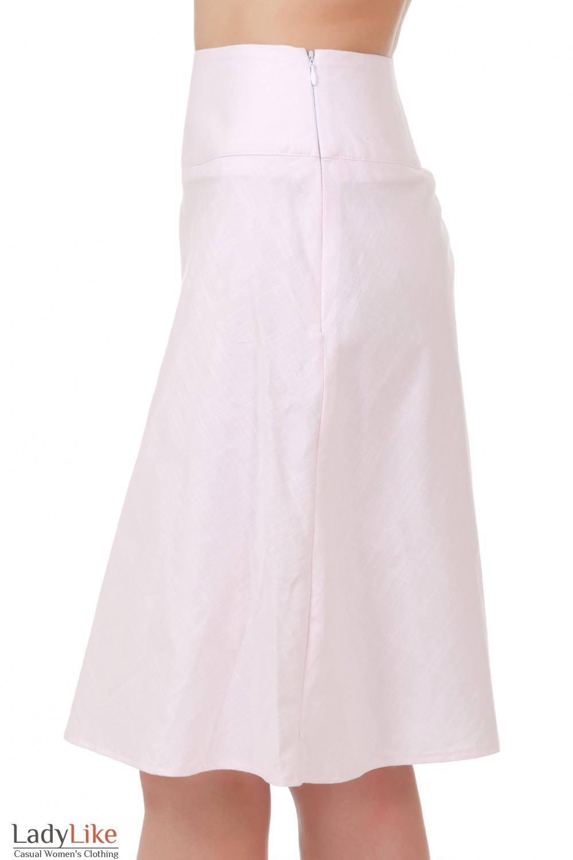 Купить юбку из розового льна Деловая женская одежда