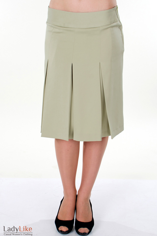 Фото Юбка оливковая со складками вид спереди Деловая женская одежда