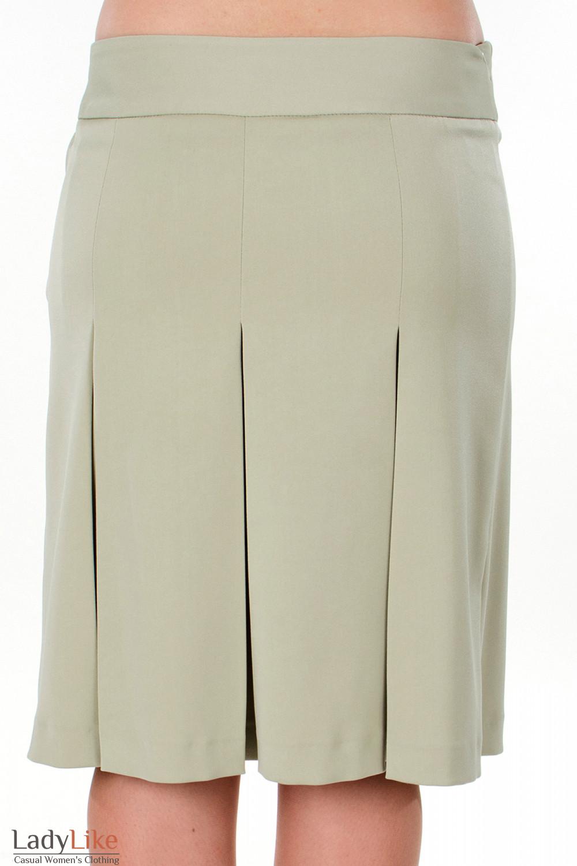 Фото Юбка оливковая со складками вид сзади Деловая женская одежда