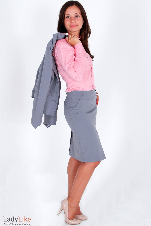 Фото Юбка с бантовой складкой светло-серая вид сбоку Деловая женская одежда