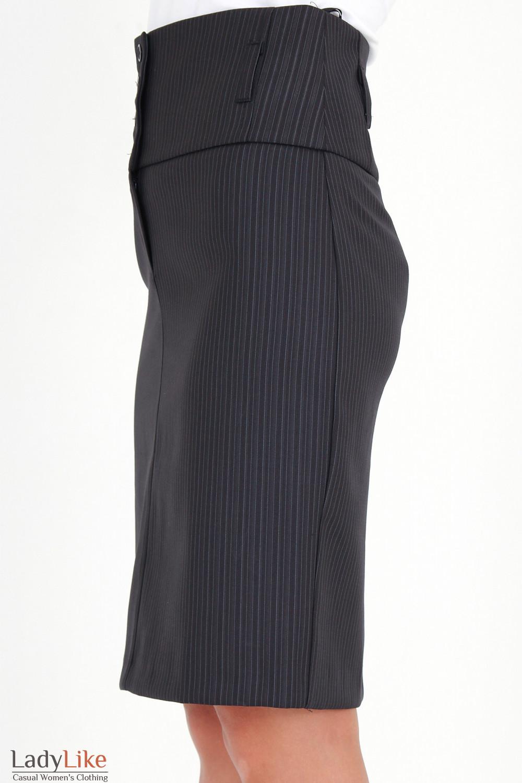 Фото Юбка с высокой талией в полоску вид сбоку Деловая женская одежда