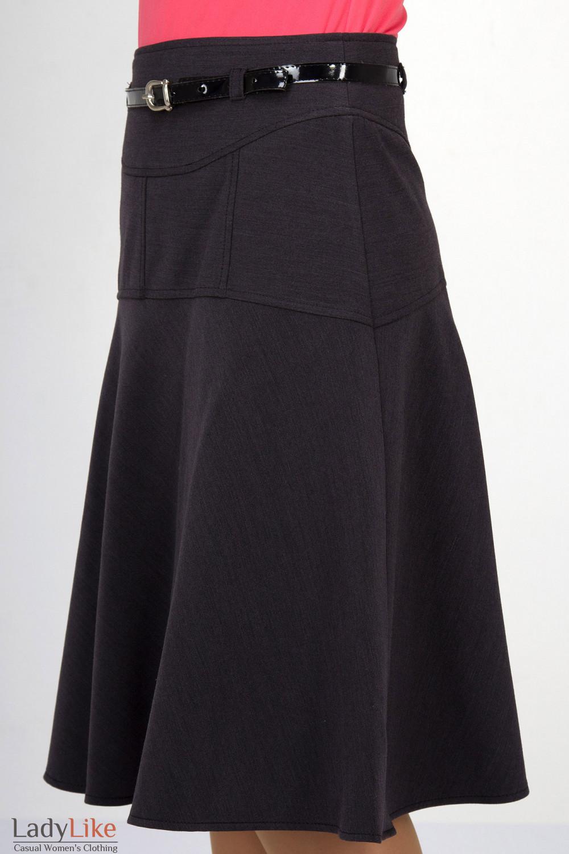 Фото Юбка серая на флисе. Вид сбоку  Деловая женская одежда