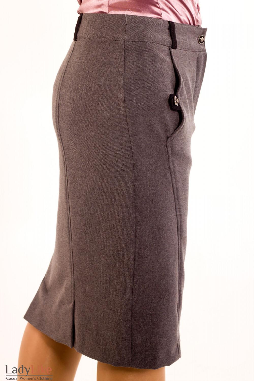 Фото Юбка серая теплая зауженная. Вид сбоку Деловая женская одежда