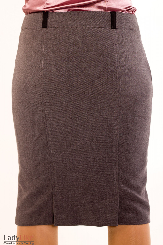 Фото Юбка серая теплая зауженная. Вид сзади Деловая женская одежда