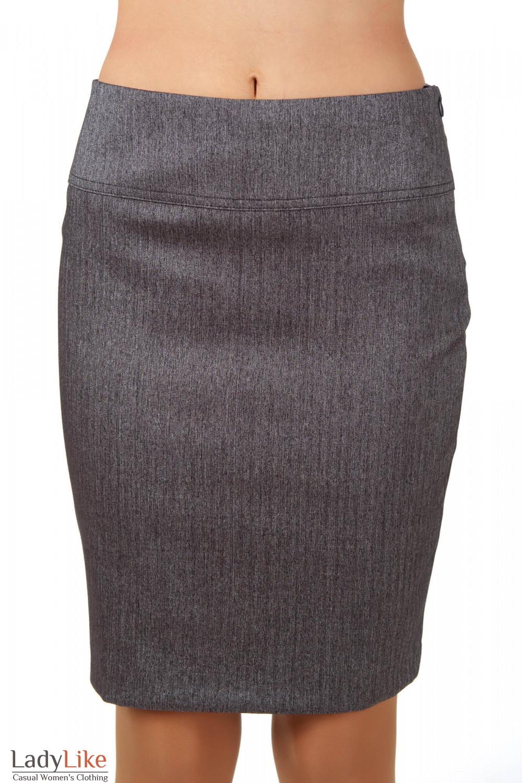 Фото Юбка серая в елочку вид спереди Деловая женская одежда