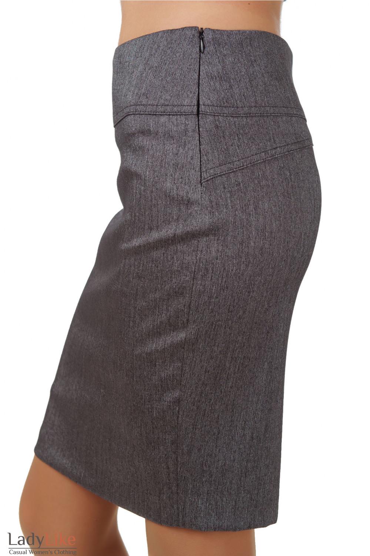 Фото Юбка серая в елочку вид сбоку Деловая женская одежда