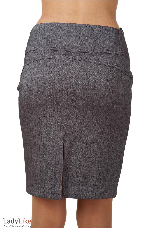 Фото Юбка серая в елочку вид сзади Деловая женская одежда