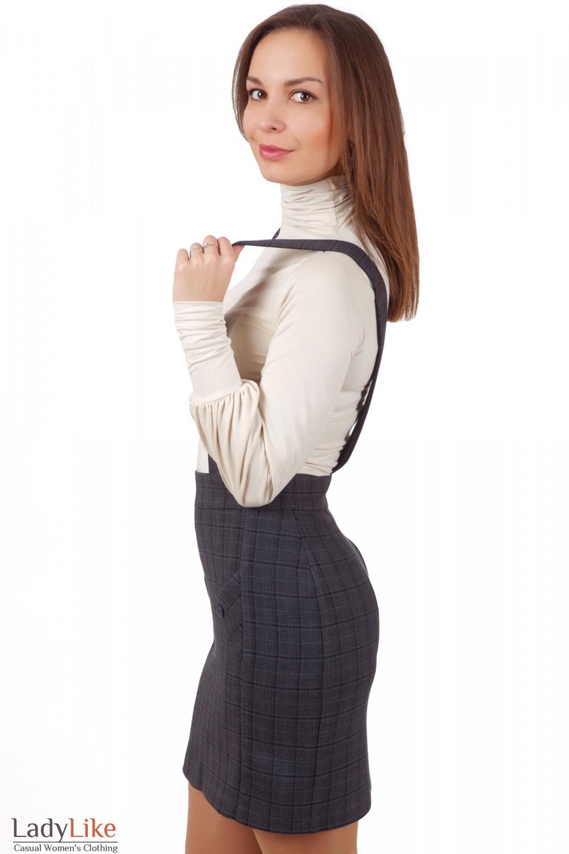 Фото Юбка серая на бретелях Деловая женская одежда