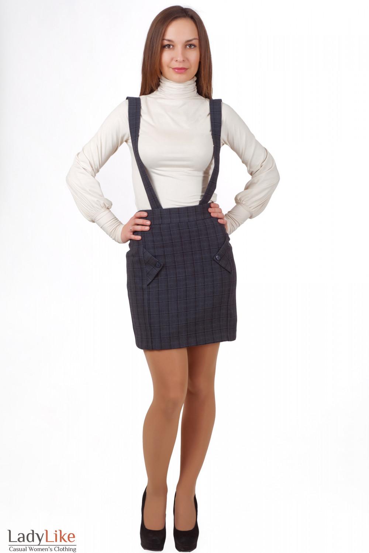 Фото Юбка с высокой талией на бретелях Деловая женская одежда