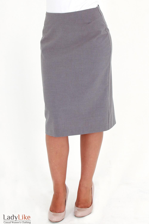 Фото Юбка серая в мелкую полоску Деловая женская одежда