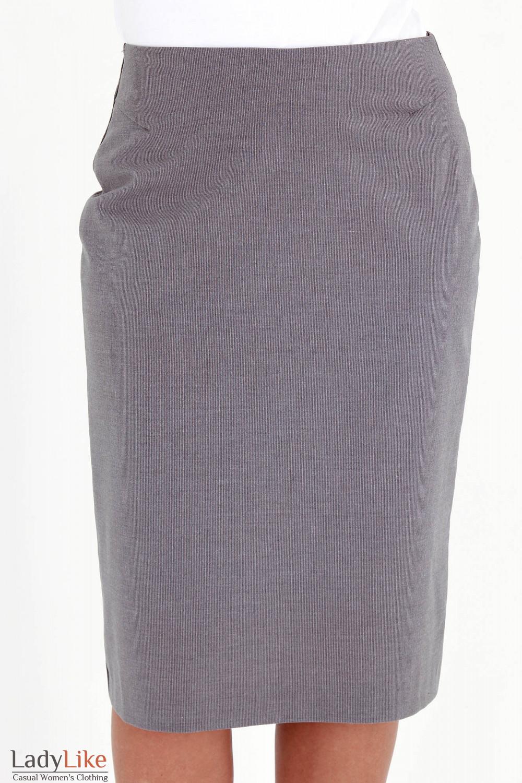 Фото Юбка серая в мелкую полоску вид спереди Деловая женская одежда