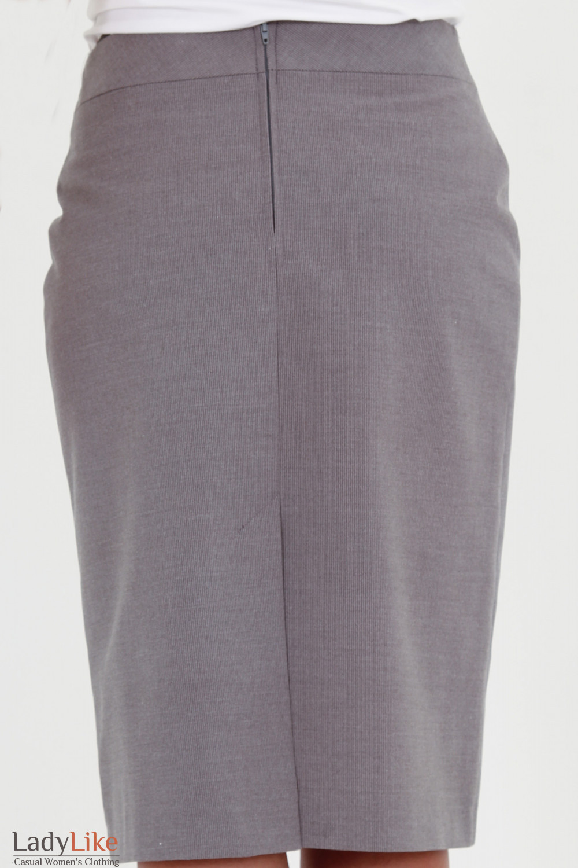 Фото Юбка серая в мелкую полоску вид сзади Деловая женская одежда