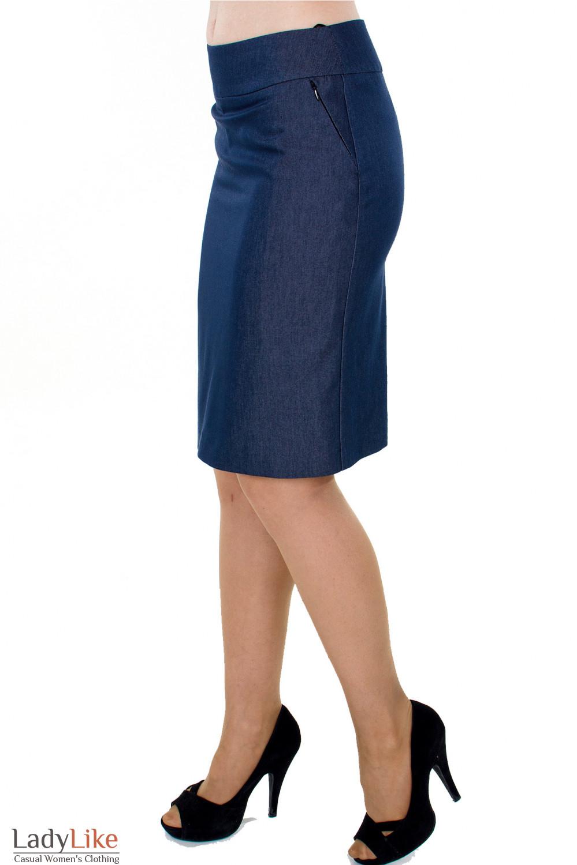 Фото Юбка синяя с молниями вид сбоку Деловая женская одежда