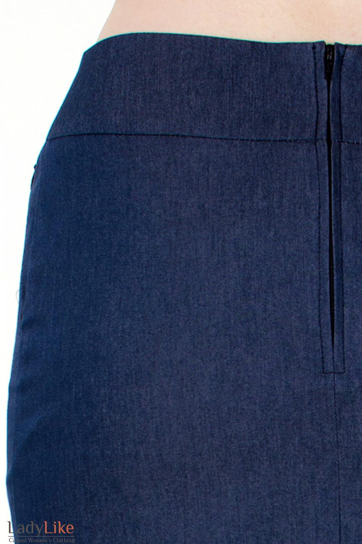 Фото Юбка синяя с молниями вид сзади Деловая женская одежда