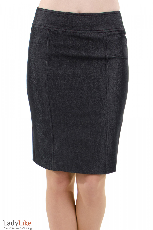 Фото Юбка темно-серая с рельефами вид спереди Деловая женская одежда