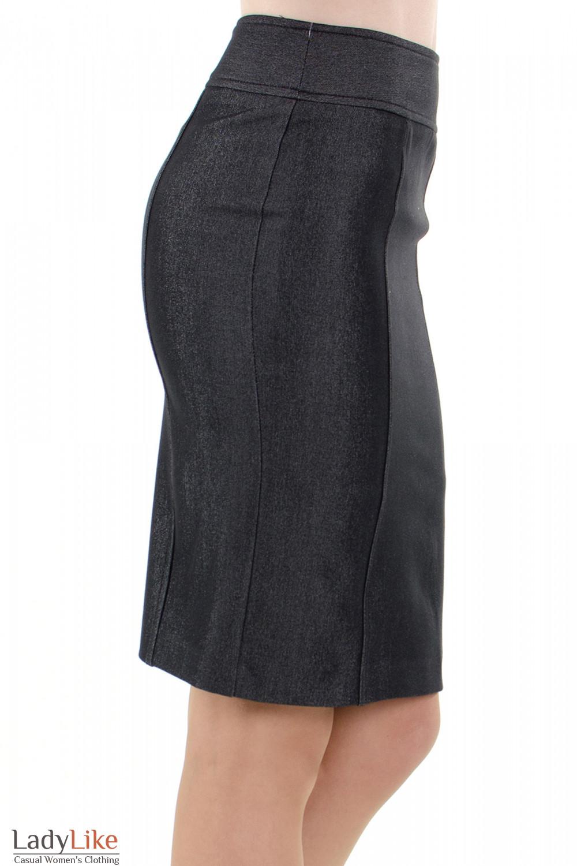 Фото Юбка темно-серая с рельефами вид сбоку Деловая женская одежда