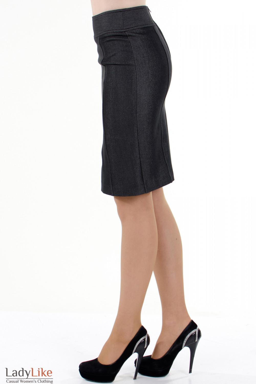 Фото Юбка темно-серая с рельефами вид слева Деловая женская одежда