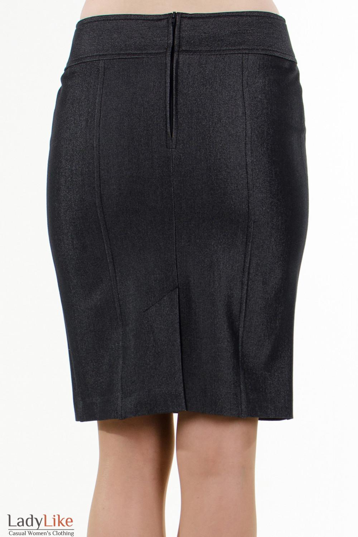 Фото Юбка темно-серая с рельефами вид  сзади Деловая женская одежда