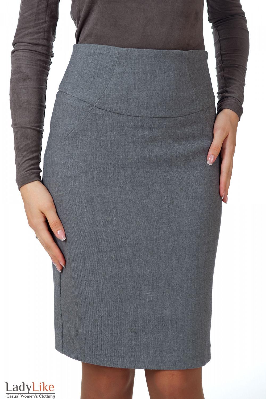Фото Юбка теплая серая с высокой талией вид спереди Деловая женская одежда