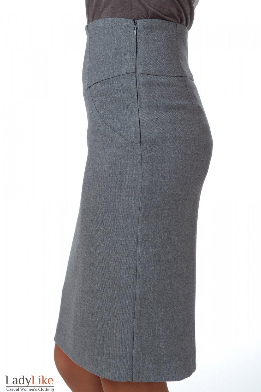 Фото Юбка теплая серая с высокой талией вид сбоку Деловая женская одежда