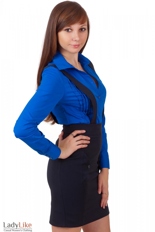 Фото Юбка теплая синяя Деловая женская одежда
