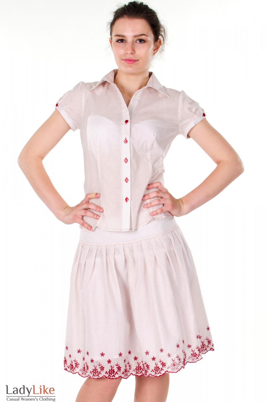 Фото Юбка в красный горошек Деловая женская одежда