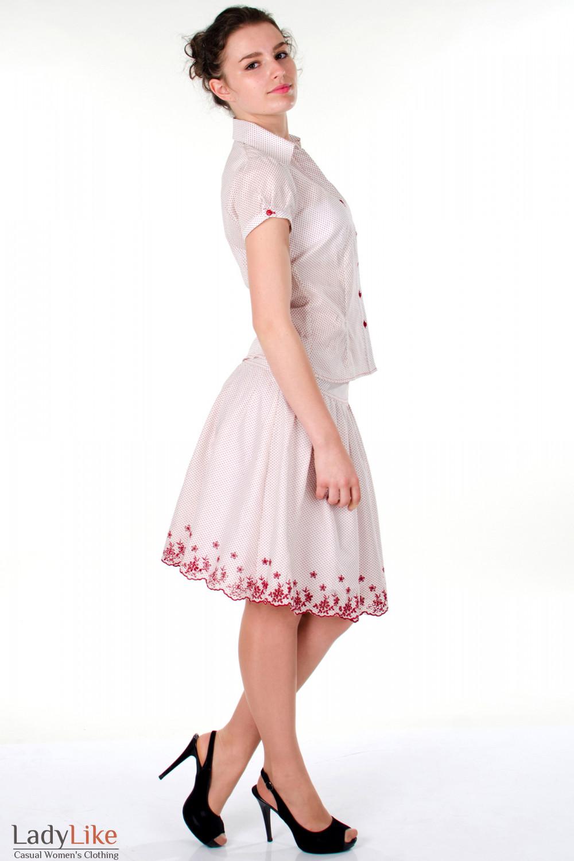 Фото Юбка в красный горошек вид сбоку Деловая женская одежда