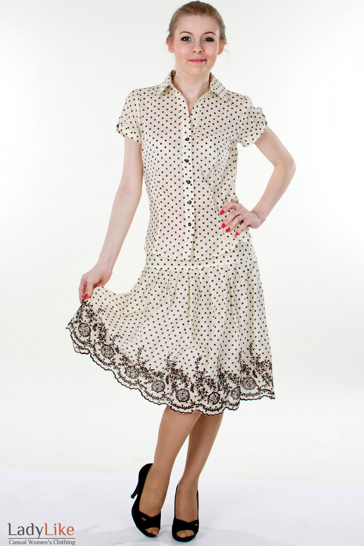 Фото Юбка в мелкий коричневый горошек Деловая женская одежда