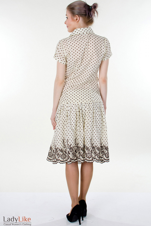 Фото Юбка в мелкий коричневый горошек вид сзади Деловая женская одежда