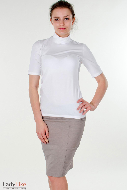Фото Юбка в мелкую бежевую полоску вид спереди Деловая женская одежда