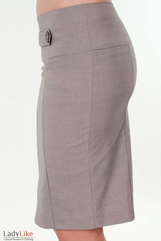 Фото Юбка в мелкую бежевую полоску вид слева Деловая женская одежда