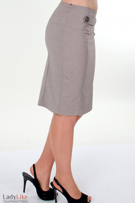 Фото Юбка в мелкую бежевую полоску вид справа Деловая женская одежда