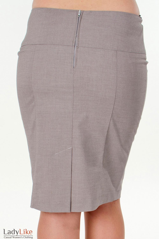 Фото Юбка в мелкую бежевую полоску вид сзади Деловая женская одежда