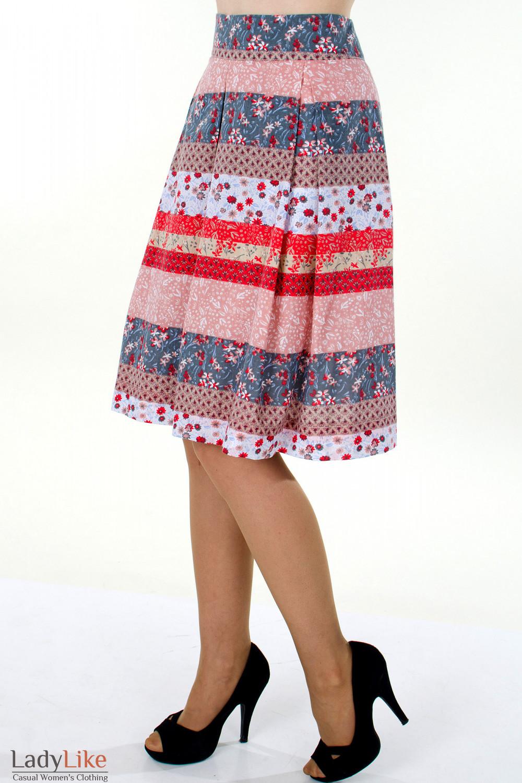 Фото Юбка в разноцветную полоску вид слева Деловая женская одежда