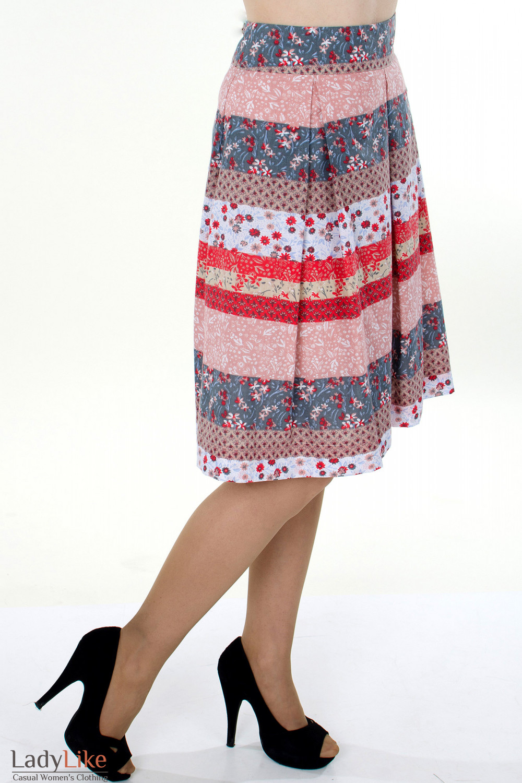 Фото Юбка в разноцветную полоску вид справа Деловая женская одежда