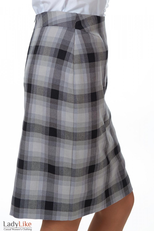 Фото Юбка в серую клетку вид сбоку Деловая женская одежда