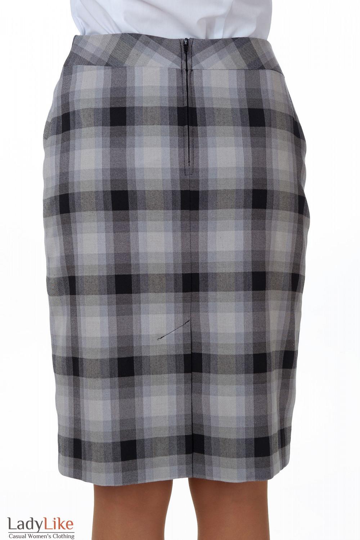 Фото Юбка в серую клетку вид сзади Деловая женская одежда