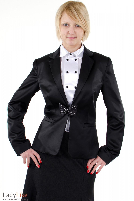 Фото Жакет атласный черный. Вид спереди. Деловая женская одежда