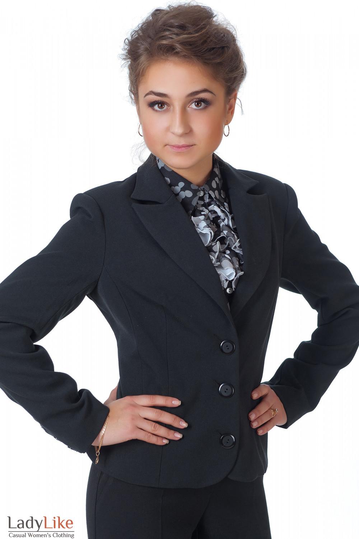 Фото Жакет черный классический теплый вид спереди Деловая женская одежда