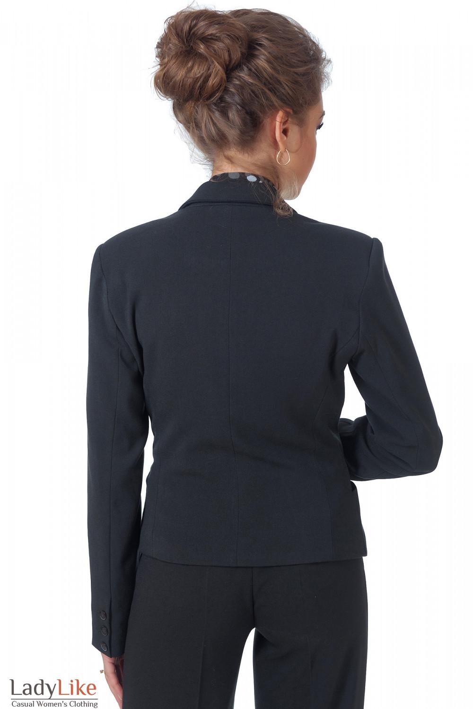Фото Жакет черный классический теплый вид сзади Деловая женская одежда