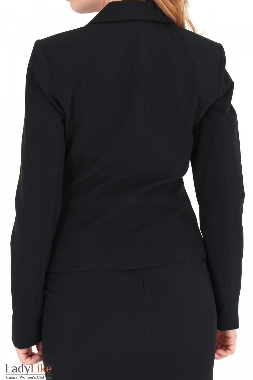 Фото Жакет черный с английским воротником вид сзади Деловая женская одежда