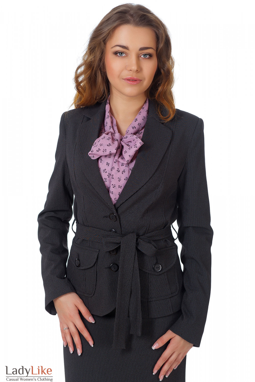 Фото Жакет черный с поясом в мелкую полоску вид спереди Деловая женская одежда