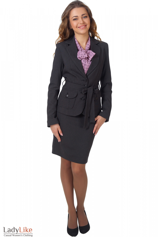 Фото Жакет черный в мелкую с юбкой Деловая женская одежда