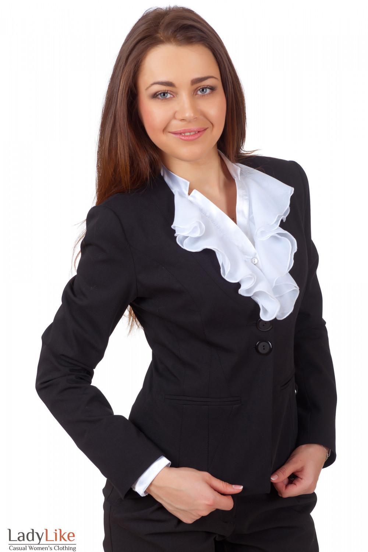 Фото Жакет черный с тонким воротником вид спереди Деловая женская одежда