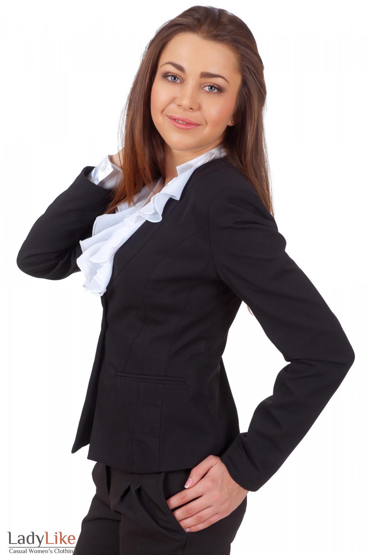 Фото Жакет черный с тонким воротником вид сбоку Деловая женская одежда