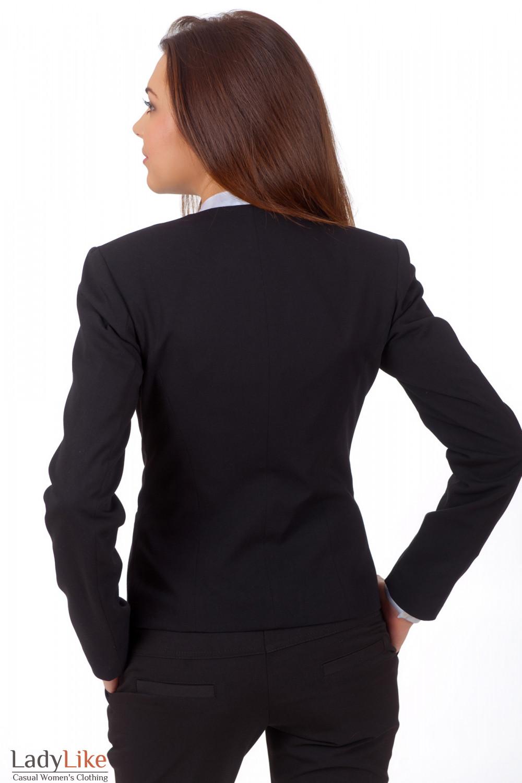 Фото Жакет черный с тонким воротником вид сзади Деловая женская одежда